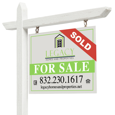 Right Facing Sold For Sale Real Estate Sign with Clipping Path Isolated on White.